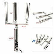 3tube Silver Highly Polished Stainlesssteel Trident Outrigger Stylish Rod Holder