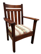Antique Arts And Crafts Mission Oak Arm Chair