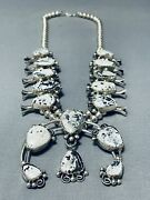 Rare Vintage Navajo White Bflo Turquoise Sterling Silver Squash Blossom Necklace
