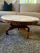 Antique Mahogany Carved Italian Marble Top Table