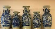 Set Of 5 Monumental Tall Hand Painted Asian Blue Temple Jars