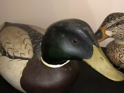 Vintage E Dean Hollow Carved Wood Mallard Duck Decoy Matched Pair Drake And Hen