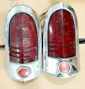 1951 Mercury Tail Lights Assembly Housing Pair Genuine Mrst-51 Fomoco Used 99