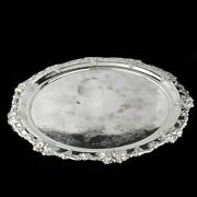 Antique Silver Plated Large Round Salver With Flowers And Grapes Ornaments ,engl