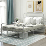 Full Size Metal Platform Bed With Headboardandfootboard Mattress Foundation Silver