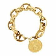 Vintage Cambon Coin Coco Mark Chain Bracelet Gp Women And039s Gold Rue _10977