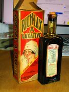 Antique Apothacary Bottle Medicine Rich Lax With Box And Labels Bottle Unused 2