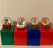 Disney Winnie The Pooh And Mickey Mouse Mini Snow Globes- Lot Of 4