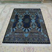 5and039x7and039 Blue Handknotted Silk Area Rug Luxury Home Decor Durable Carpets 119a
