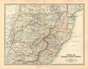 1911 Large Victorian Map Africa Natal And Orange River Colony Transvaal