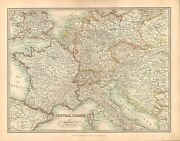 1911 Large Victorian Map Central Europe France Switzerland Austria-hungary