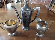 Antique Sterling Silver Tea Set Hand Hammered - Merrill Shops Ny - Arts And Crafts