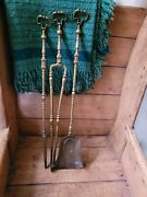 A Lovely Set Of 3 Antique Brass Fire Irons 19th Century