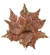 3 X Large Rose Gold Clip On Poinsettia Christmas Tree Flower Decorations 26cm