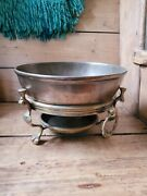 A Rare Early Brass Brazier And Bronze Bowl 17th Century