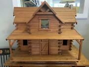 Large Wooden Log Cabin Doll House W/ Furniture