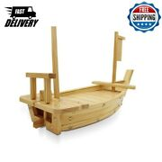 Bamboo Wooden Handmade Dragon Boat Japanese Sushi Tray Serving Boat Plate Toy