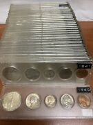 Complete Set Of 1940 - 1970 U.s. Silver Coin Set In Plastic Lucite Holder