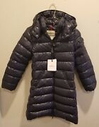 New, Authentic, Long, Navy Moncler Girls Coat Size 10