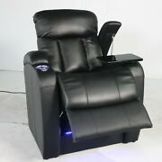 Seatcraft Grenada Home Theater Seating Black Leather Back Row Single Recliner