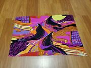 Awesome Rare Vintage Mid Century Retro 70s 60s Psychedelic Asian Wavy Fabric