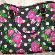 Betsey Johnson Black And Pink Roses Tote Laptop Bag