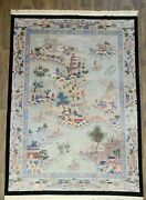 Decorative Handwoven Art Deco Chinese Rug Beautiful Scenery Size 8and0392andtimes10and0396