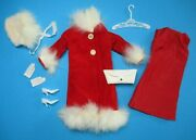 Barbie Vintage Japanese Exclusive Red Velvet Coat White Fur - Complete Outfit