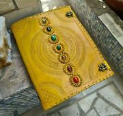 Mosaic Leather Journal 18 In 7 Stone Chakra Journal With Lock Embossed Journal