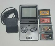 Nintendo Gameboy Advance, Gba Sp Ags-001 Onyx Black W/charger And 4 Games