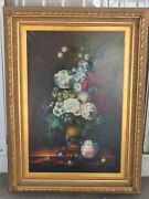 Vintage Floral Flowers Still Life Oil Painting By Unknown Artist - See Pictures