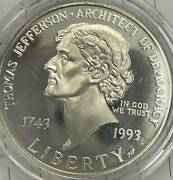 1993-s Thomas Jefferson Proof Silver Dollar - Missing Some/all Ogp