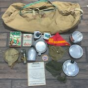 Large Lot Of Vintage Boy Scout Canteens Duffle Flashlight +++++