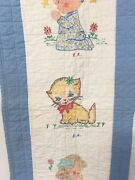 +stamped Crib Quilt -blue White Baby Blanket Wall Hanging 31x40 Unique