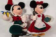 Vtg Disney Santa's Best Minnie And Mickey Mouse Lighted Christmas Ornaments 1998
