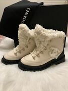100 Authentic Shearling Lace Up Combat Boots 37snow Boot Spikes