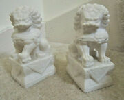Foo Dog Bookends 2 Carved Raw Marble Lions Shishi Guard Dog Statues 950 Value