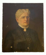 19thc Antique American Boston Portrait Oil Painting Woman Wears Brooch Cameo 24andrdquo