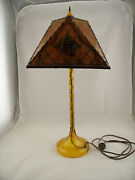 Vintage Amber Art Deco Depression Glass Candlestick Lamp With Antique Mica Shade