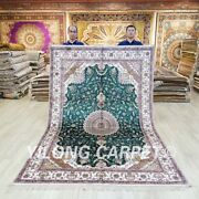6x9ft Handknotted Green Silk Rug Kid Friendly Antistatic Home Carpet 040c