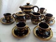 Hand Made In Greece 24 K Gold Trimmed Demitasse Coffee Service Blue