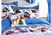 Snowman And Friends Twin Size Holiday Christmas Comforter Bed Skirt Sham Set Nip