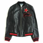 454035 Panther Star Patches Rib Knit Leather Blouson Bomb _64231