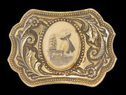 Antique 1800's Whale, Whaling Ship Ocean, New England , Boston Belt Buckle