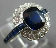 Antique Large 2.8ct Diamond And Aaa Sapphire Platinum Square Engagement Ring 27506