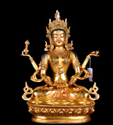 12and039and039 Tibet Nepal 4 Arms Kwanyin Mother Buddha Copper Statue
