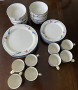 Lenox Poppies On Blue 8 - 4 Piece Place Settings - 32 Pieces Local Pick Up Only