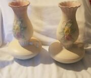 Vintage 2 Rare Pristine Hull Pottery Oil Lamp Shaped 10.5 Vases Marked Usa Read