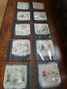 Rare Find Miniature Antique Silk Paintings X 10 Fairy Tale Scenes Early 1900s