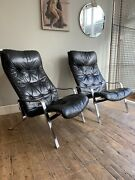 Pair Of 1960s 1970s Vintage Armchairs Chrome And Black Leather